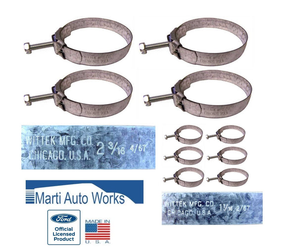 1967 1968 Mustang Big Block 390/427/428 Wittek Tower Radiator & Heater Hose Clamps - Marti Auto Works