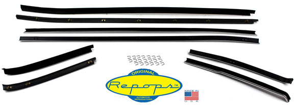 1971 1972 1973 Mustang Fastback Door Window Felt Fuzzies Rubber Seal Kit - Repops