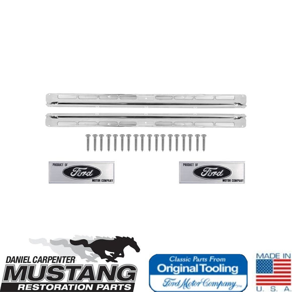 1965 1966 Mustang Coupe Fastback Original Tooling Door Sill Scuff Plate Kit Complete