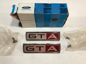 1967 Mustang Fairlane GTA Emblems Pair NOS