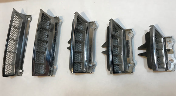 1965 1966 Mustang Fastback Rear Pillar Chrome Vents Inserts Original
