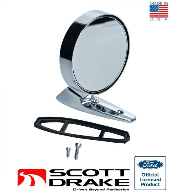 1965-1966 Mustang Outside Non-Remote Rear View Mirror, Round w/ Rotunda Logo Passenger Side - Scott Drake