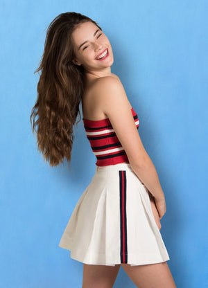 Tennis Skirt Pleated w/Side Stripes