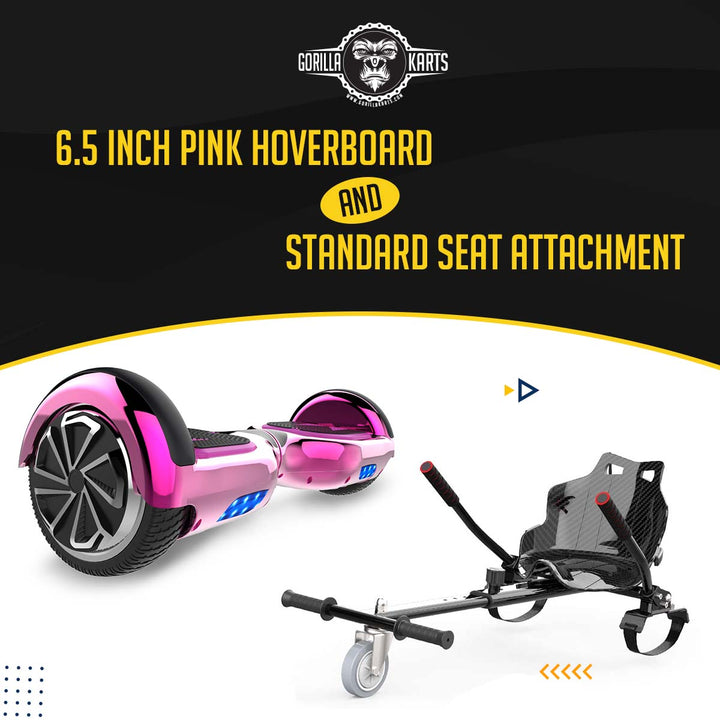 Hoverboard Chrome Pink 6.5 + Kart attachment