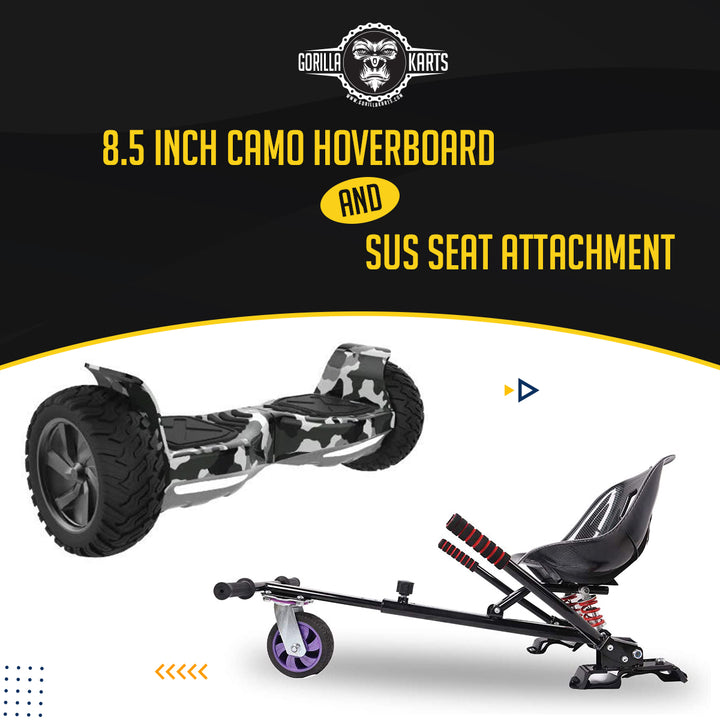 Hoverboard Camo 8.5 + Suspension Hoverkart Attachment - Bundle Deal Offer