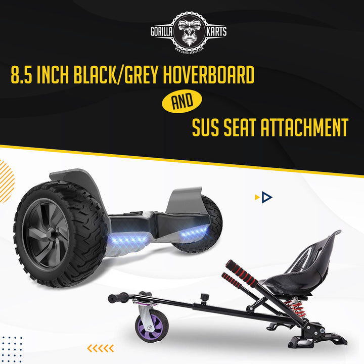Hoverboard Grey/Black 8.5 + Suspension Hoverkart Attachment - Bundle Deal Offer
