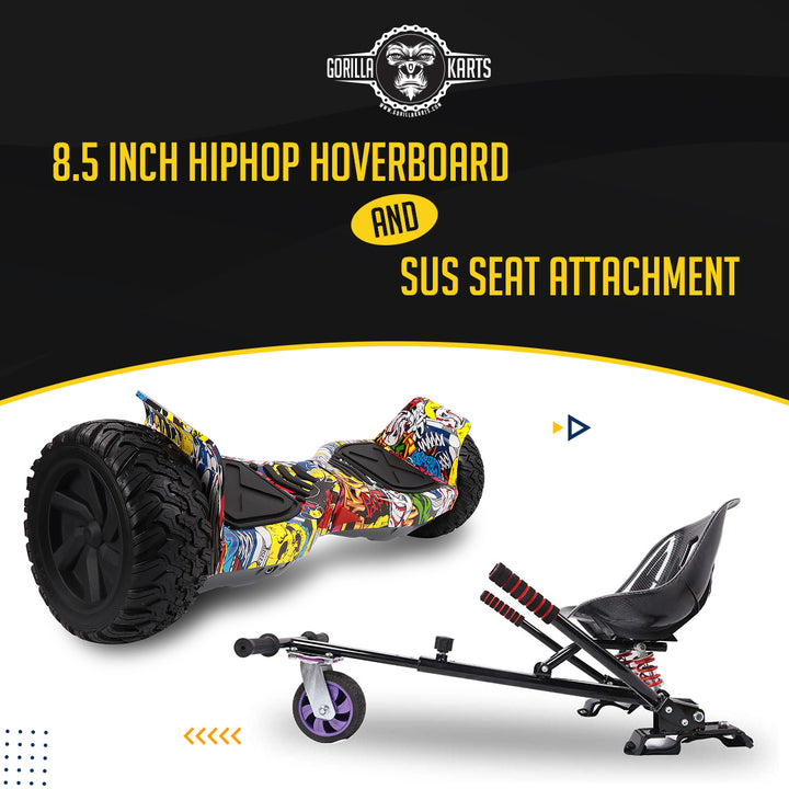 Hoverboard Hiphop 8.5 + Suspension Hoverkart Attachment - Bundle Deal Offer