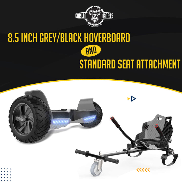 Hoverboard Grey/Black 8.5 + Hoverkart Attachment - Bundle Deal Offer