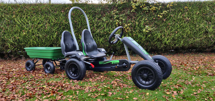 Deal Large Green Go kart + 2 seats + Large tipping Trailer