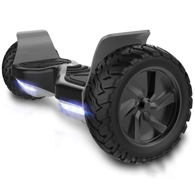 8.5 Black/Grey All Terrain Hummer Hoverboard Board Black + Bluetooth Speaker.