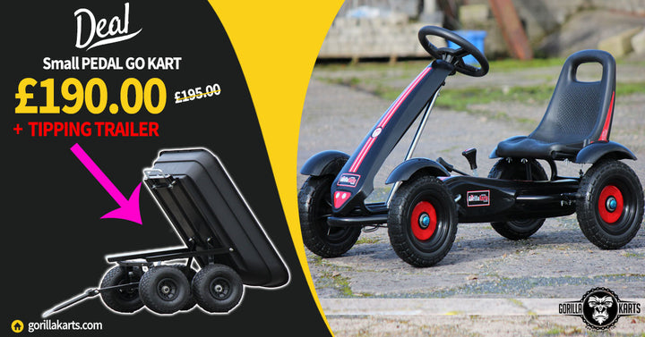 Small pedal gorilla kart + Black tipping trailer Deal