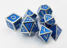 Load image into Gallery viewer, Arabic Metal Blue Silver Dice (Talis Evolvere)