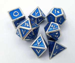 Arabic Metal Blue Silver Dice (Talis Evolvere)
