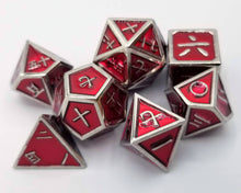 Load image into Gallery viewer, Kanji Metal Red Silver Dice (Talis Evolvere)