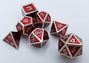 Thai Metal Red Silver Dice (Talis Evolvere)