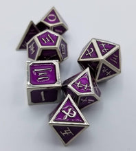 Load image into Gallery viewer, Kanji Metal Purple Silver Dice (Talis Evolvere)