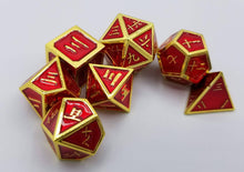 Load image into Gallery viewer, Kanji Metal Red Gold Dice (Talis Evolvere)