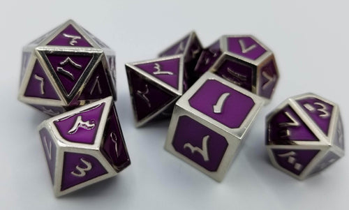 Arabic Metal Purple Silver Dice (Talis Evolvere)