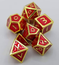 Load image into Gallery viewer, Arabic Metal Red Gold Dice (Talis Evolvere)