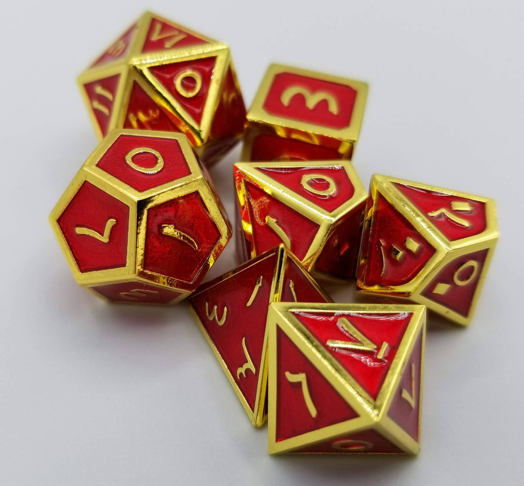 Arabic Metal Red Gold Dice (Talis Evolvere)