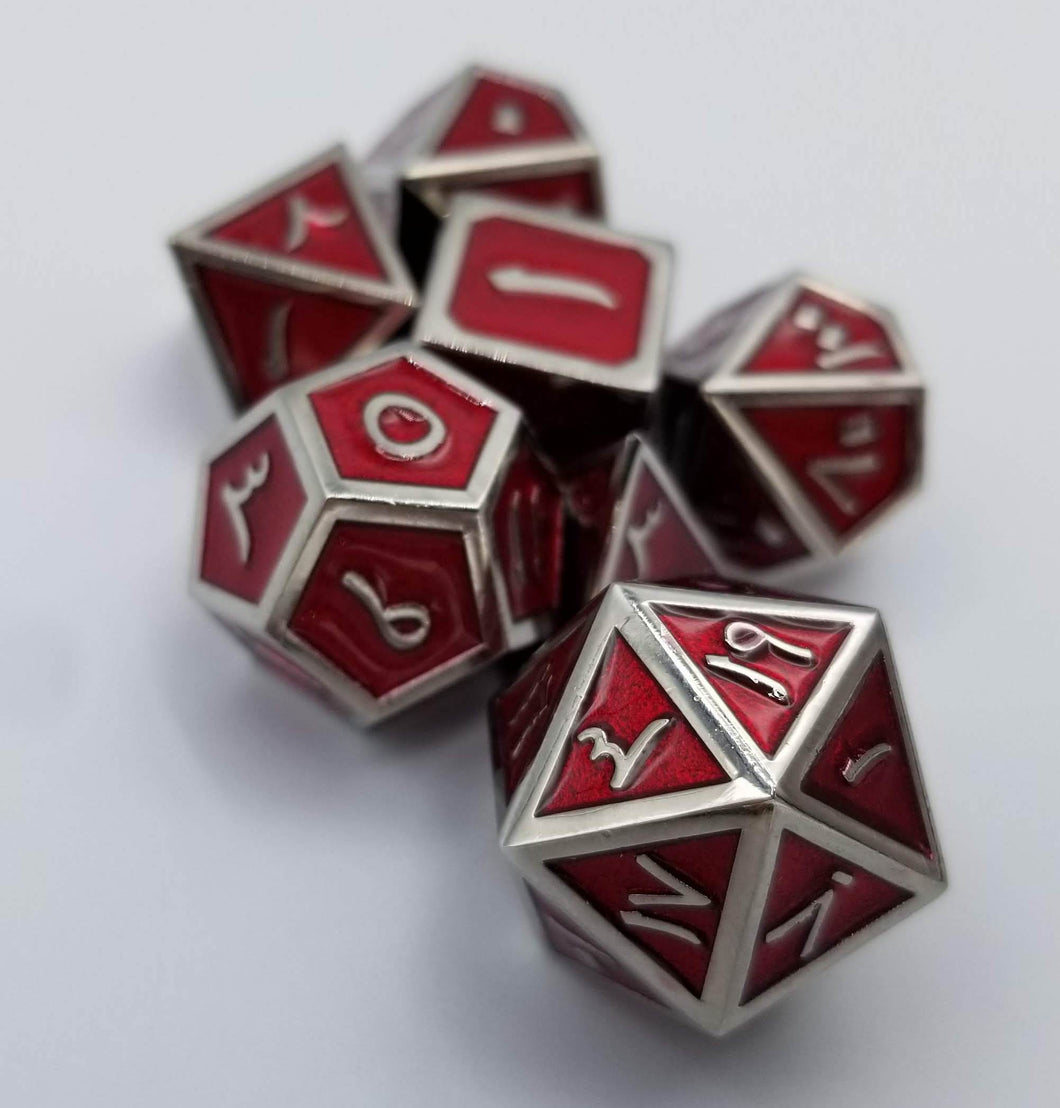 Arabic Metal Red Silver Dice (Talis Evolvere)