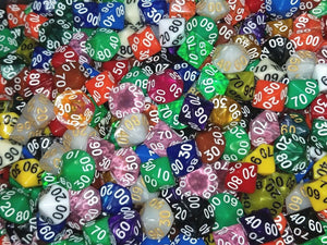 (5) HDDice D00 Percentile Random Pearl Solid Translucent Color Polyhedral Dice