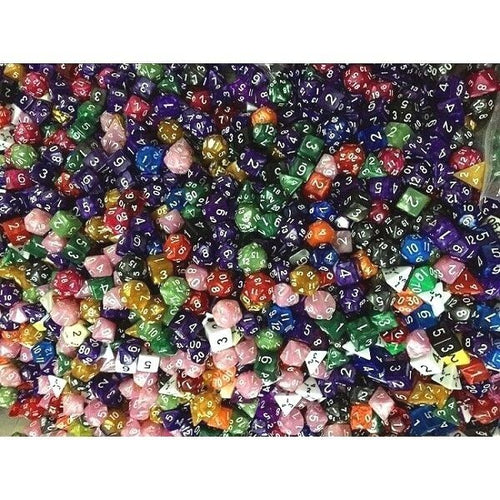 (100) HDDice Random Color Loose Pearl Solid Translucent Polyhedral Dice Lot
