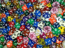 Load image into Gallery viewer, (50) HDDice D10 Random Color Pearl Solid Translucent Polyhedral Dice Lot 10 Side