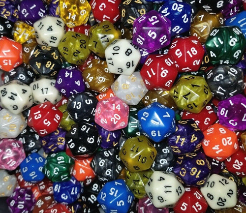 (25) HDDice D20 Pearl Solid Translucent Random Color Polyhedral Dice Lot