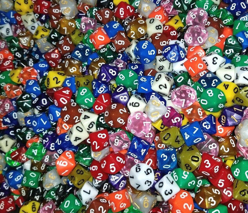 (25) HDDice D10 Random Color Pearl Solid Translucent Polyhedral Dice Lot 10 Side