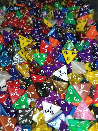 (25) HDDice D4 Random Color Pearl Solid Translucent Polyhedral Dice Lot 4 Sided