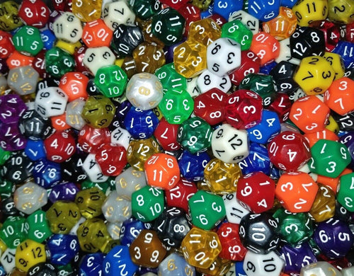(25) HDDice D12 Random Pearl Solid Translucent Color Polyhedral 12 Side Dice Lot