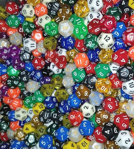 (100) HDDice D12 Random Pearl Solid Translucent Color Polyhedral Dice Lot