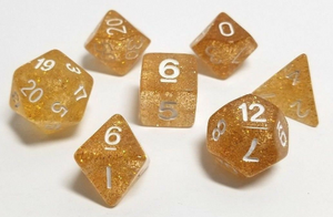 Gold Glitter Dice Set