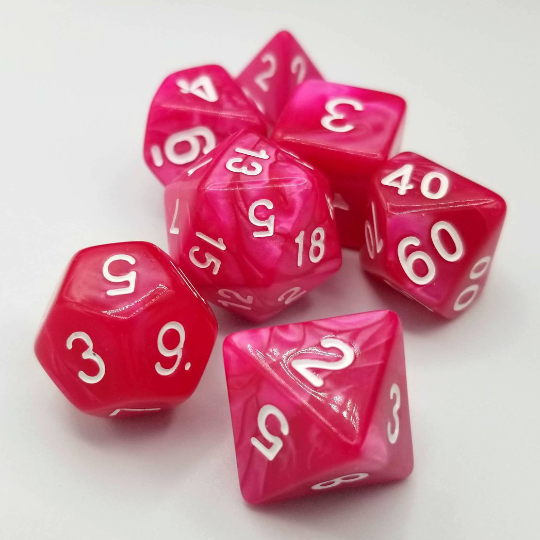 Rose Red Pearl Dice Set