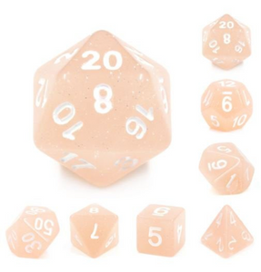 Beige Glitter Dice Set