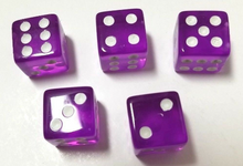 Load image into Gallery viewer, Purple Transparent (B Grade) 16mm 6 Side Dice (Set of 5)