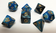 Load image into Gallery viewer, Blue Black Marble Dice Set