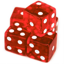 Load image into Gallery viewer, Red Transparent (B Grade) 19mm 6 Sided Dice (Set of 5)