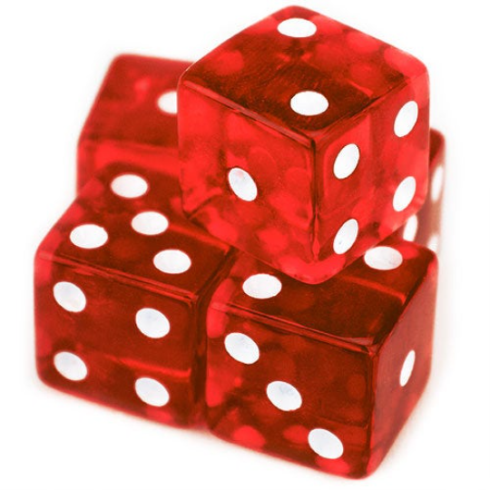 Red Transparent (B Grade) 19mm 6 Sided Dice (Set of 5)