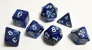 Blue Silver Marble Dice Set