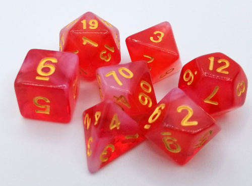 Red Milky Dice Set