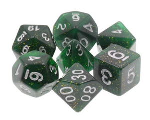 Dark Green Glitter Dice Set