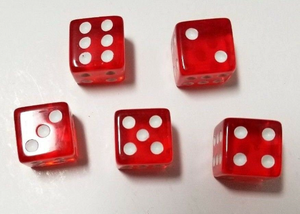 Red Transparent (B Grade) 16mm 6 Sided Dice (Set of 5)