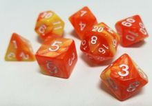 Load image into Gallery viewer, Orange Yellow Marble Dice Set