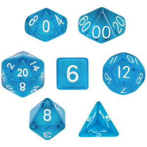 Transparent Blue Dice Set