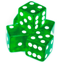 Load image into Gallery viewer, Green Transparent (B-Grade) 19mm 6 Side Dice (Set of 5)