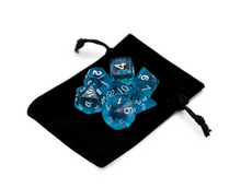 Load image into Gallery viewer, Transparent Blue Dice Set