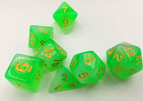 Green Milky Dice Set