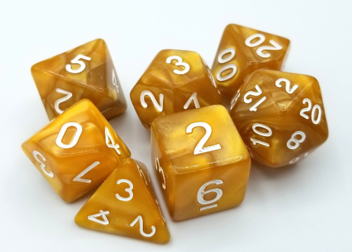 Golden Tan Pearl Dice Set
